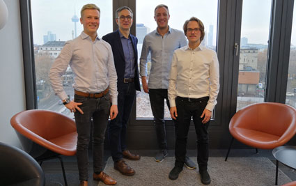 The PLEV founders with Markus Gromer on the occasion of contract signing